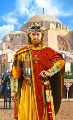 m Cleric Noble Medium Armor Cloak Necklace Crown Bracers Sword male urban city Temple street story Emperor Basil I of the Eastern Roman Byzantine Empire at the Hagia Sofia lg Medieval Knight, Medieval Fantasy, Ancient Rome, Ancient History, Ancient Aliens, Ancient Greece, European History, Art History, American History