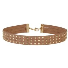 Miss Selfridge Suede Stud Choker ($16) ❤ liked on Polyvore featuring jewelry, necklaces, gold, nude jewelry, suede necklace, suede choker, studded choker and studded choker necklace
