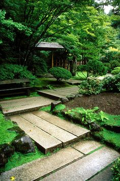 original pin says: Japanese Gardens    A rather old picture (by a couple of years anyway) I took of Portland's Japanese Gardens. The path here turns at right angles because it is believed that evil spirits can only travel in straight lines and therefore have trouble navigating the corners