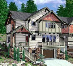 Craftsman 4bd, 3.5ba house on sloping, narrow lot.