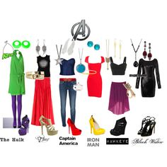 Love these Avengers Inspired outfits, created by jolie-eastman on Polyvore! My faves are probly hawkeye & capt america.