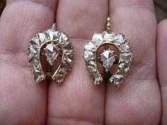 Estate Vintage Victorian VS2 3 Ct 14k Gold w Diamonds Horseshoe Earrings 1880