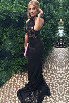 Elegant High Neck Sleeveless Sweep Train Appliques Black Prom Dress with Lace https://bellanblue.com
