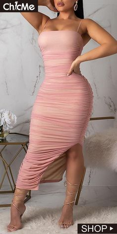 Ruched Design Mesh Slit Dress We Miss Moda is a leading Women's Clothing Store. Tight Dresses, Simple Dresses, Sexy Dresses, Fashion Dresses, Bandage Dresses, Casual Dresses, Glamorous Dresses, Party Dresses, Slit Dress