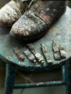 celiabasto:  100% ART / Jackson Pollock's Studio                                                          Minus the tubes...What my shoes & stuff look like.