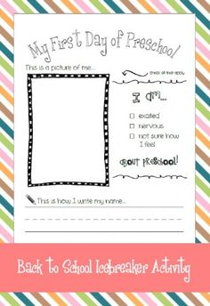 Back To School Art and Writing Preschool Printable