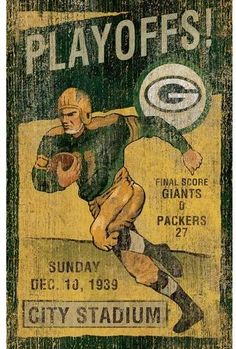 This Green Bay Packers Vintage Wall Art by Imperial USA will make a great addition to you Fan Cave, Rec Room, den or office. This vintage looking piece of art was created with the attention on detail. Bears Football, Raiders Football, Oakland Raiders, Football Players, Football Season, Steelers Football, Pittsburgh Steelers, Dallas Cowboys, Steelers Stuff