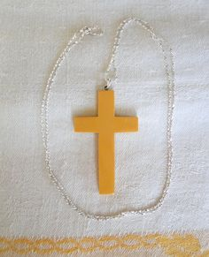 Large Butterscotch Bakelite CROSS or CRUCIFIX on Italian 29 Inch Sterling Twist Chain-Beautiful Vintage 1930s Art Deco Pendant Necklace by TheCalamityHouse on Etsy