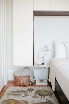 Creating a Serene Home in Brooklyn- Build in shelving around bed in lieu of a headboard
