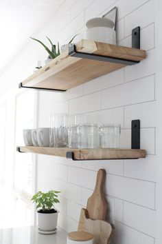 Floating Shelves Kitchen, Diy Shelves, Wood Diy, Kitchen Remodel, Metal Shelves, Kitchen Decor, Kitchen Wall, Shelves, Becki Owens Kitchen
