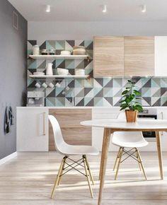 papier peint géométrique pour la cuisine de style scandinave
