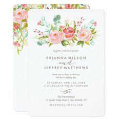 Floral Wedding Invitations Rose Garden Floral Wedding Invitation