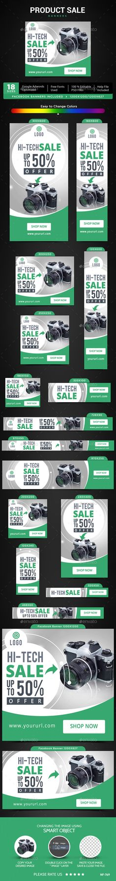 Product Sale Web Banners Template PSD #ads #design Download: http://graphicriver.net/item/product-sale-banners/13420319?ref=ksioks