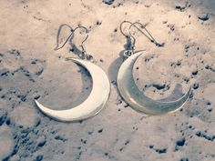 Large silver crescent moon earrings  VioletMoonchildArts.etsy.com #handmade #moon #gypsy #boho #wicca #nature #earrings