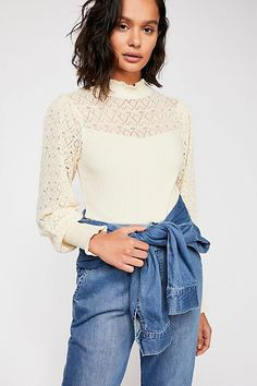 Alpine Swit Top - Cream Colored Mock Neck Sweater Top with All Over Sheer Pattern Fancy Tops, Free People Store, Cotton Blouses, Summer Wear, Summer Looks, My Outfit, Outfit Ideas, Fashion Outfits, Clothes For Women