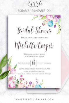 Printable Bridal Shower Invitation card - with watercolor floral elements by Amistyle Digital Art on Etsy