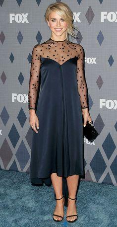 Julianne Hough in a midnight blue sheer star-printed Monique Lhuillier dress