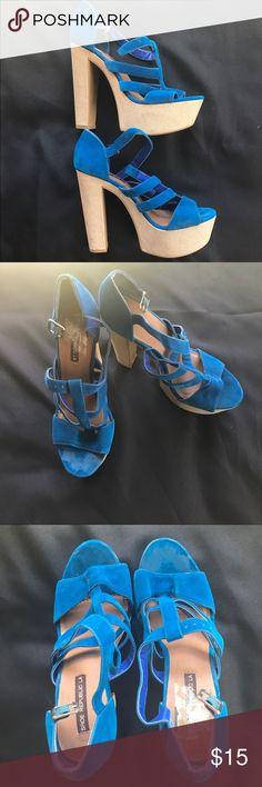 Blue suede pumps Shoe republic LA  Blue suede heels  Super sexy  Size 7 1/2 Shoe Republic LA Shoes Platforms
