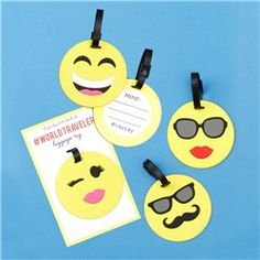 Emoji Luggage Tags- make out of duct tape and the non sticky side of self laminating paper