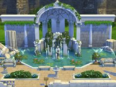 The Sims 4 the roman fountain no cc Sims 4 Loft, Roman Fountain, The Sims 4 Lots, Sims 4 House Plans, Sims 4 House Design, Casas The Sims 4, Sims Building, Sims 4 Build, Sims 4 Custom Content