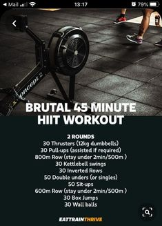 Looking for an all-out brutal workout session. This'll get you going, a pretty decent full body run down that'll work you top to bottom. Would imagine depending on your fitness…View Post Rower Workout, Amrap Workout, Gym Workout Tips, Workout Challenge, 45 Minute Workout, Hiit, Cardio, Fitness Design, Entraînement Boot Camp
