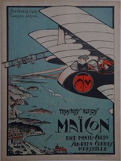 Maison Nice Monte-Carlo San-Remo Cannes Marseseille Vintage Plane Poster Aerial View
