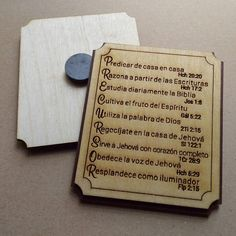The Pionner Life Magnet describing the life of a pioneer with scriptures. Magnet measurements: 3 x Only available in Spanish. Laser cut and engraved. Made from Baltic birch wood. Jw Pioneer, Pioneer Life, Jw Gifts, Cute Gifts, Craft Gifts, Pioneer School Gifts, Family Worship Night, Pioneer Crafts, Gifts For Brother