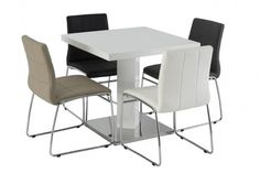 The Como High Gloss Dining Set is a high gloss white square dining table with matching chairs. Great where space is a premium. Simple design finished with a chrome base and comes with four chairs in a choice of Black, Stone, White and Grey.  https://www.furn-on.com/como-high-gloss-dining-set.html