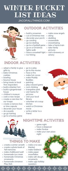 Have fun with your family this winter with these winter activities! Use these indoor and outdoor winter activity ideas to create your family winter bucket list! bucket list Winter Bucket List Ideas and Activities Winter Activities For Kids, Activities To Do, Christmas Activities For Families, Family Activities With Toddlers, Preschool Family, Calendar Activities, Indoor Activities, Winter Fun, Winter Christmas