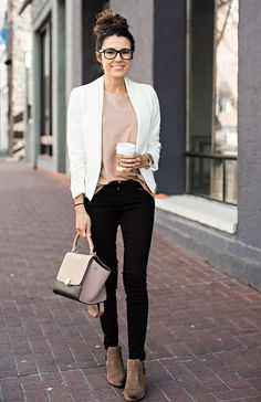 LOOK I: SUEDE ANKLE BOOTIES (SIMILAR HERE) | WHITE BLAZER (SIMILAR HERE) | TAN BOYFRIEND TEE | BLACK DENIM | CELINE HANDBAG LOOK II: SUEDE ANKLE BOOTIES (SIMILAR HERE) | GREY TOP | DISTRESSED S