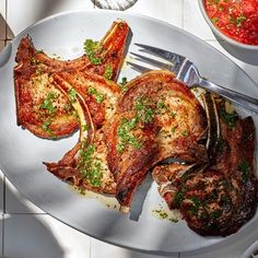 Thin Pork Chops, Pork Chops And Rice, Pork Chop Recipes, Meat Recipes, Healthy Recipes, Seafood Buffet, Cooking White Rice, Asian Recipes, Sauces