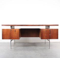 Anonymous; Rosewood and Chromed Metal Desk by Hulmefa, 1960s.