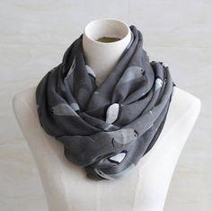 Grey vivid birds scarf soft cotton voile by blackbeanblackbean, $9.99