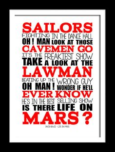 A3 David Bowie Life on Mars Print Typography by RTprintdesigns