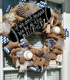 At the Ballfield wreath. Available with softballs or baseballs or one of each! ( please specify in your order comments what you want). Royal