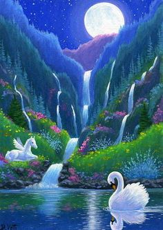 Swan pegasus foal horse waterfall moon fantasy limited edition aceo print art #Realism
