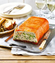 Looking for a salmon starter? Make this easy to prepare smoked salmon terrine recipe as a starter to serve at a dinner party, or Christmas lunch. Salmon Terrine Recipes, Smoked Salmon Terrine, Salmon Roulade, Smoked Salmon Recipes, Fish Recipes, Seafood Recipes, Cooking Recipes, Fish Starter Recipes, Uk Recipes