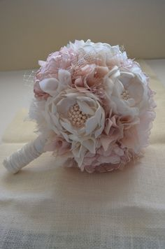 Large Bouquet - Blush, Champagne and Cream Bouquet - Heirloom Bouquet, Fabric Flower Bouquet, Fabric Bouquet, Keepsake Bouquet by TheVintageCabbgeRose on Etsy https://www.etsy.com/listing/199906612/large-bouquet-blush-champagne-and-cream