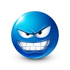 Angry blue smiley