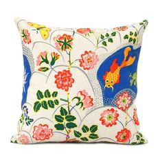 Cushion Guldfisk Linen. Svenskt Tenn's textiles are printed by hand, mainly in Sweden, on 100 percent cotton or linen of the highest quality.