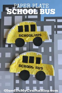 Paper Plate School Bus – Kid Craft - Paper School Bus Art Project - Back To School Tutorial For Kids To Make - First Day Back To School - Teachers - Paper Plate Buses School Bus Art, School Bus Crafts, Back To School Crafts For Kids, Back To School Art, Daycare Crafts, Classroom Crafts, Preschool Activities, Preschool Transportation Crafts, School School
