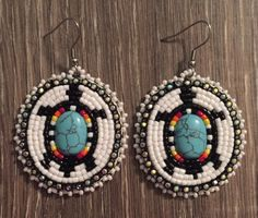 Navajo Native American Beaded Oval Turquoise Turtle Dangle Earrings | eBay