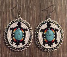Navajo Native American Beaded Oval Turquoise Turtle Dangle Earrings   eBay