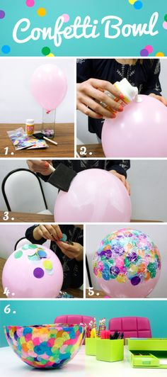 Create It: Confetti Bowl. A fun, creative way to add a pop of color into your house for spring! #spring #confetti #dyi