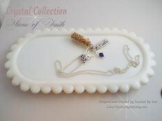 The Faith of a Mustard Seed Bottle Necklace with Swarovski Crystal Charm and FAITH Charm-Silver Plated Chain and Findings