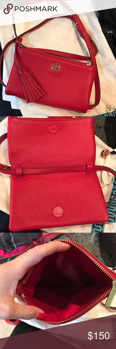 NWOT Tory Burch Robinson crossbody bag This is an adorable soft supple pebbled leather crossbody purse. Color is red and has a gold Tory Burch logo. Brand new never used but tags were removed. The long strap can be removed to be used as a clutch. The last photo is for size comparison. iPhone 6 and 7 plus will fit. Has a flap over style that's closed by a magnet and also has a zipper so nothing will fall out.  Trade value is retail since this is new. ❤️ Tory Burch Bags Crossbody Bags