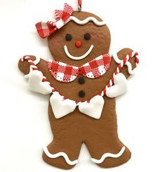 Gingerbread Man Girl Cookie Ornament Frosted Fake Food Country Bakery R Gingerbread Man Decorations, Gingerbread Man Crafts, Gingerbread Christmas Tree, Gingerbread Ornaments, Gold Christmas Decorations, Gingerbread Man Cookies, Christmas Cookies, Christmas Holidays, Christmas Crafts