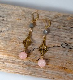 Grey Moonstone and Rose Quartz Vintage style earrings, in 14K gold-filled. by ChrisAllenJewelry on Etsy