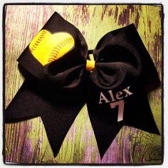 Softball bows!    www.facebook.com/MidnightBows Instagram - @ MidnightBows