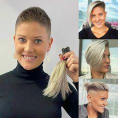 Long Hair Cut Short, Super Short Hair, Short Hair Styles, Before After Hair, Before And After Haircut, Short Blonde Haircuts, Girls Short Haircuts, Undercut Hairstyles, Cool Hairstyles